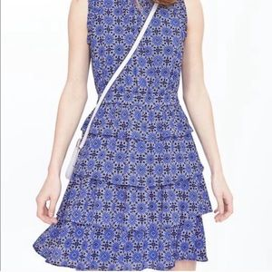 Banana Republic Tired Floral Dress A Line Blue